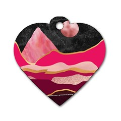 Pink And Black Abstract Mountain Landscape Dog Tag Heart (one Side)