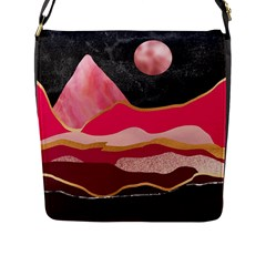 Pink And Black Abstract Mountain Landscape Flap Closure Messenger Bag (l)
