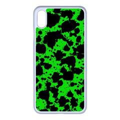 Black And Green Leopard Style Paint Splash Funny Pattern Iphone Xs Max Seamless Case (white) by yoursparklingshop