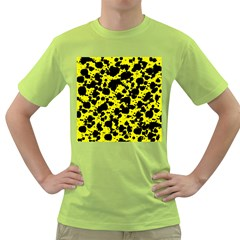 Black And Yellow Leopard Style Paint Splash Funny Pattern  Green T Shirt by yoursparklingshop