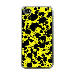 Black And Yellow Leopard Style Paint Splash Funny Pattern  Iphone 4 Case (clear) by yoursparklingshop
