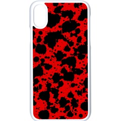 Black And Red Leopard Style Paint Splash Funny Pattern Iphone Xs Seamless Case (white) by yoursparklingshop