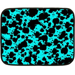 Bright Turquoise And Black Leopard Style Paint Splash Funny Pattern Fleece Blanket (mini) by yoursparklingshop