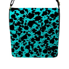 Bright Turquoise And Black Leopard Style Paint Splash Funny Pattern Flap Closure Messenger Bag (l) by yoursparklingshop