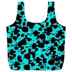 Bright Turquoise And Black Leopard Style Paint Splash Funny Pattern Full Print Recycle Bag (xl) by yoursparklingshop