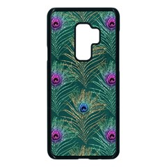 Peacock Glitter Feather Pattern Samsung Galaxy S9 Plus Seamless Case(black)