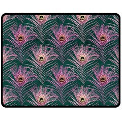 Peacock Glitter Feather Pattern Fleece Blanket (medium)  by tarastyle