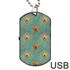 Peacock Glitter Feather Pattern Dog Tag Usb Flash (two Sides) by tarastyle