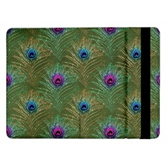 Peacock Glitter Feather Pattern Samsung Galaxy Tab Pro 12 2  Flip Case by tarastyle