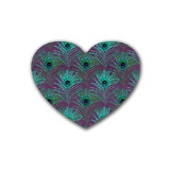Peacock Glitter Feather Pattern Heart Coaster (4 Pack)  by tarastyle