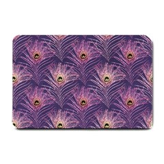 Peacock Glitter Feather Pattern Small Doormat  by tarastyle