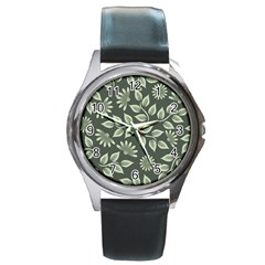 Flowers Pattern Spring Nature Round Metal Watch