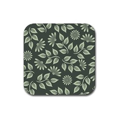 Flowers Pattern Spring Nature Rubber Square Coaster (4 Pack)  by Pakrebo