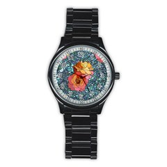 Pattern Rose Yellow Background Stainless Steel Round Watch