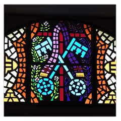 Mosaic Window Rosette Church Glass Large Satin Scarf (square)