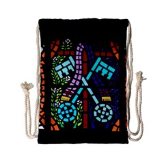 Mosaic Window Rosette Church Glass Drawstring Bag (small)