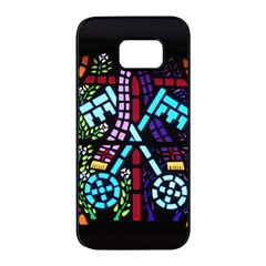 Mosaic Window Rosette Church Glass Samsung Galaxy S7 Edge Black Seamless Case by Pakrebo