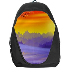 Vector Illustration Winter Sunset Backpack Bag