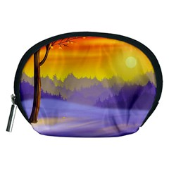Vector Illustration Winter Sunset Accessory Pouch (medium) by Pakrebo