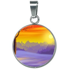 Vector Illustration Winter Sunset 20mm Round Necklace
