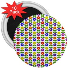 Flowers Colors Colorful Flowering 3  Magnets (10 Pack)