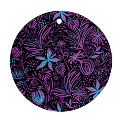Stamping Pattern Leaves Drawing Ornament (round)