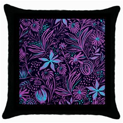 Stamping Pattern Leaves Drawing Throw Pillow Case (black) by Pakrebo