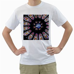 Rosette Stained Glass Window Church Men s T Shirt (white) (two Sided)