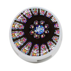 Rosette Stained Glass Window Church 4-port Usb Hub (one Side) by Pakrebo