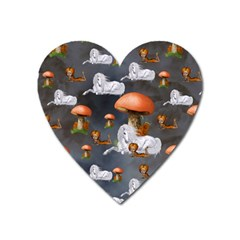 Cute Little Fairy With Unicorn, Pattern Design Heart Magnet by FantasyWorld7