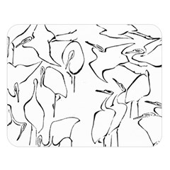 Katsushika Hokusai, Egrets From Quick Lessons In Simplified Drawing Double Sided Flano Blanket (large)  by Valentinaart