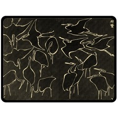 Katsushika Hokusai, Egrets From Quick Lessons In Simplified Drawing Double Sided Fleece Blanket (large)  by Valentinaart