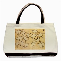 Katsushika Hokusai, Egrets From Quick Lessons In Simplified Drawing Basic Tote Bag (two Sides)