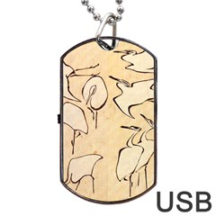 Katsushika Hokusai, Egrets From Quick Lessons In Simplified Drawing Dog Tag Usb Flash (one Side) by Valentinaart