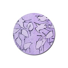 Katsushika Hokusai, Egrets From Quick Lessons In Simplified Drawing Rubber Round Coaster (4 Pack)  by Valentinaart