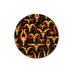 Stylised Horns Black Pattern Magnet 3  (round)