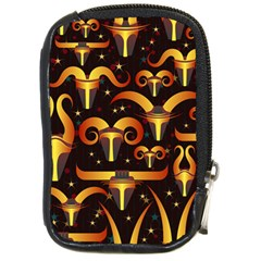 Stylised Horns Black Pattern Compact Camera Leather Case by HermanTelo