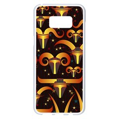 Stylised Horns Black Pattern Samsung Galaxy S8 Plus White Seamless Case by HermanTelo
