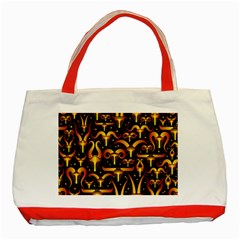 Stylised Horns Black Pattern Classic Tote Bag (red) by HermanTelo