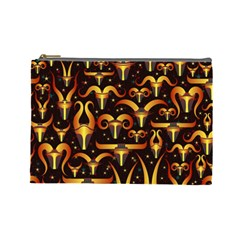 Stylised Horns Black Pattern Cosmetic Bag (large) by HermanTelo