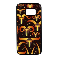Stylised Horns Black Pattern Samsung Galaxy S7 Black Seamless Case