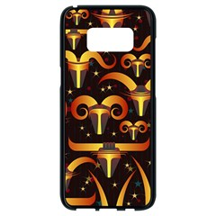 Stylised Horns Black Pattern Samsung Galaxy S8 Black Seamless Case by HermanTelo