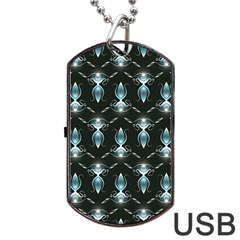 Seamless Pattern Background Black Dog Tag Usb Flash (one Side) by HermanTelo