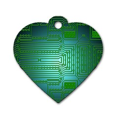 Board Conductors Circuits Dog Tag Heart (two Sides) by HermanTelo