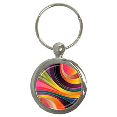 Abstract Colorful Background Wavy Key Chains (round)  by HermanTelo