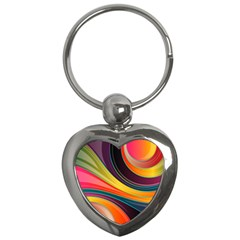 Abstract Colorful Background Wavy Key Chains (heart)  by HermanTelo