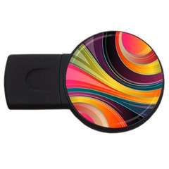 Abstract Colorful Background Wavy Usb Flash Drive Round (2 Gb) by HermanTelo