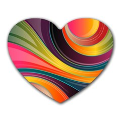Abstract Colorful Background Wavy Heart Mousepads by HermanTelo
