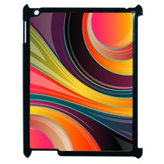 Abstract Colorful Background Wavy Apple Ipad 2 Case (black)