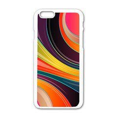 Abstract Colorful Background Wavy Iphone 6/6s White Enamel Case by HermanTelo
